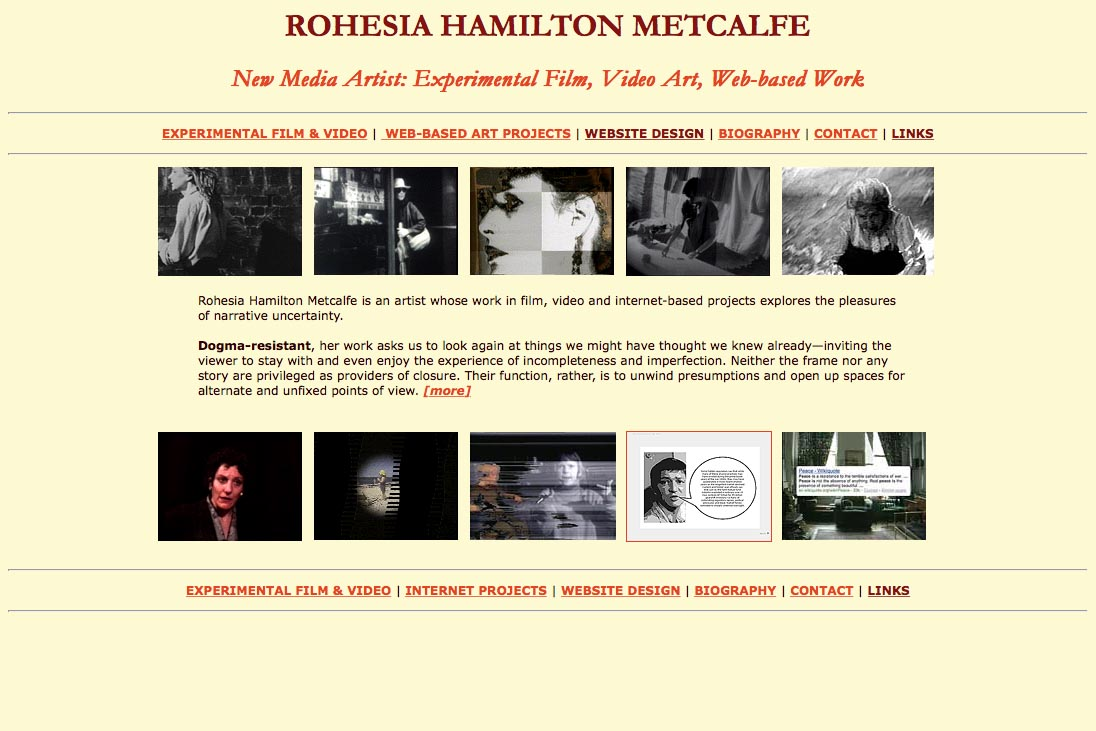 early web design for media artist - Rohesia Hamilton Metcalfe