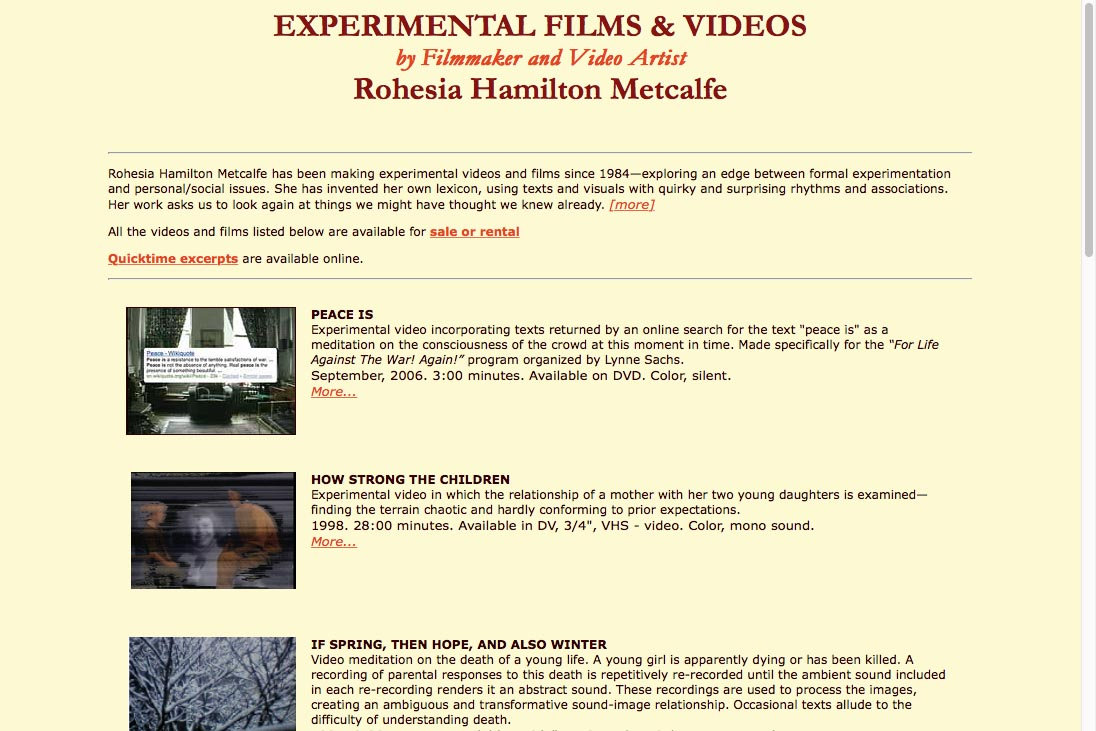 early web design for media artist - films landing page