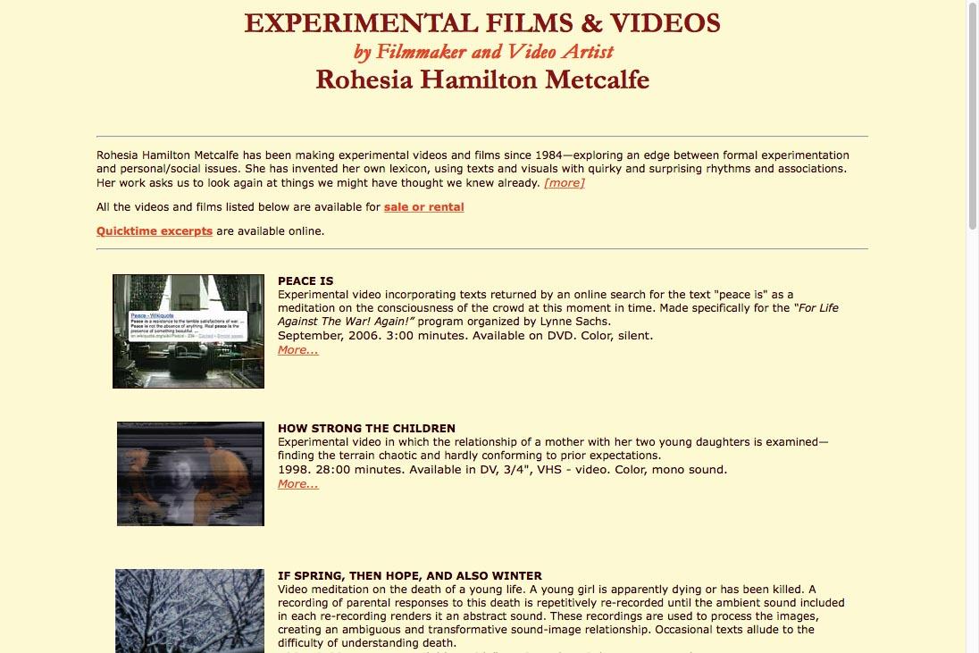 early web design for media artist - films landing page