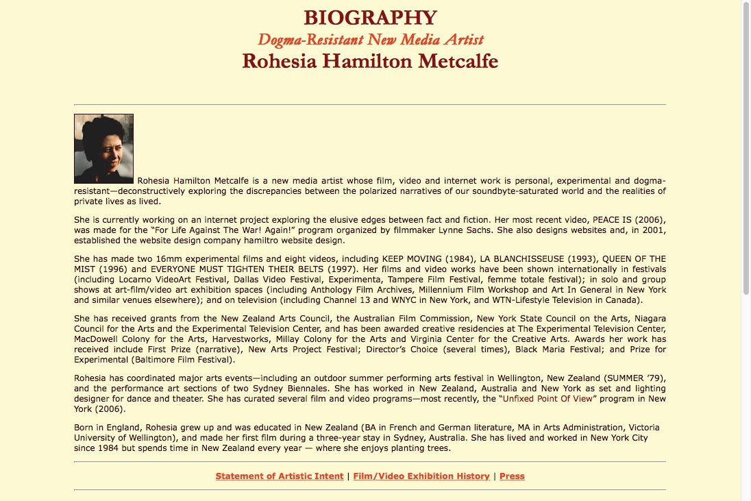 early web design for media artist - biography page