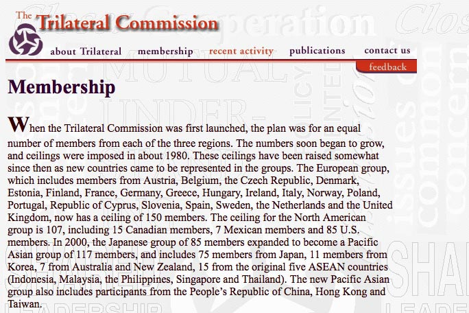web design for a non-profit organization - the Trilateral Commission membership page