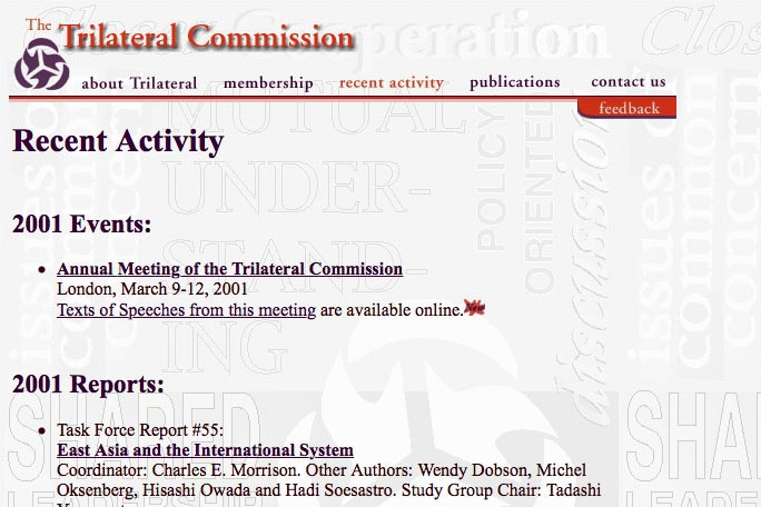 web design for a non-profit organization - the Trilateral Commission - recent activity page