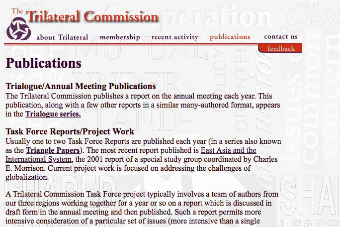 web design for a non-profit organization - the Trilateral Commission - publications page