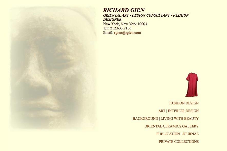 Early web design for a fashion designer: Richard Gien