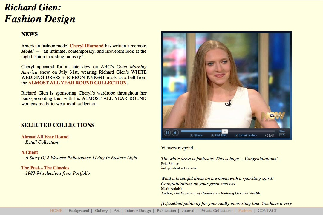 Early web design for a fashion designer: Richard Gien - fashion landing page
