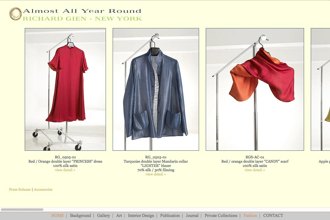 Early web design for a fashion designer: Richard Gien - all year round collection