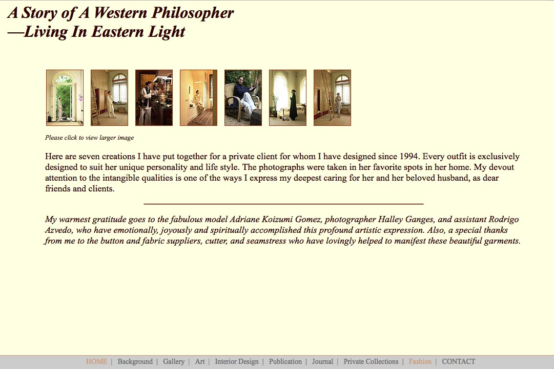 Early web design for a fashion designer: Richard Gien - fashion story page