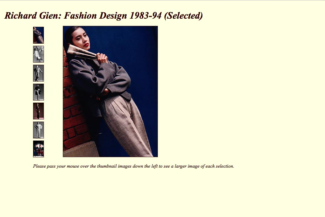 Early web design for a fashion designer: Richard Gien - early designs page