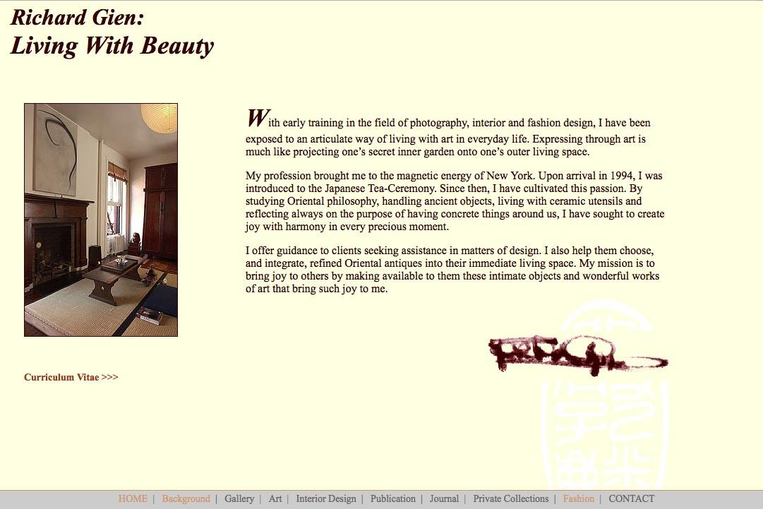 Early web design for a fashion designer: Richard Gien - background page