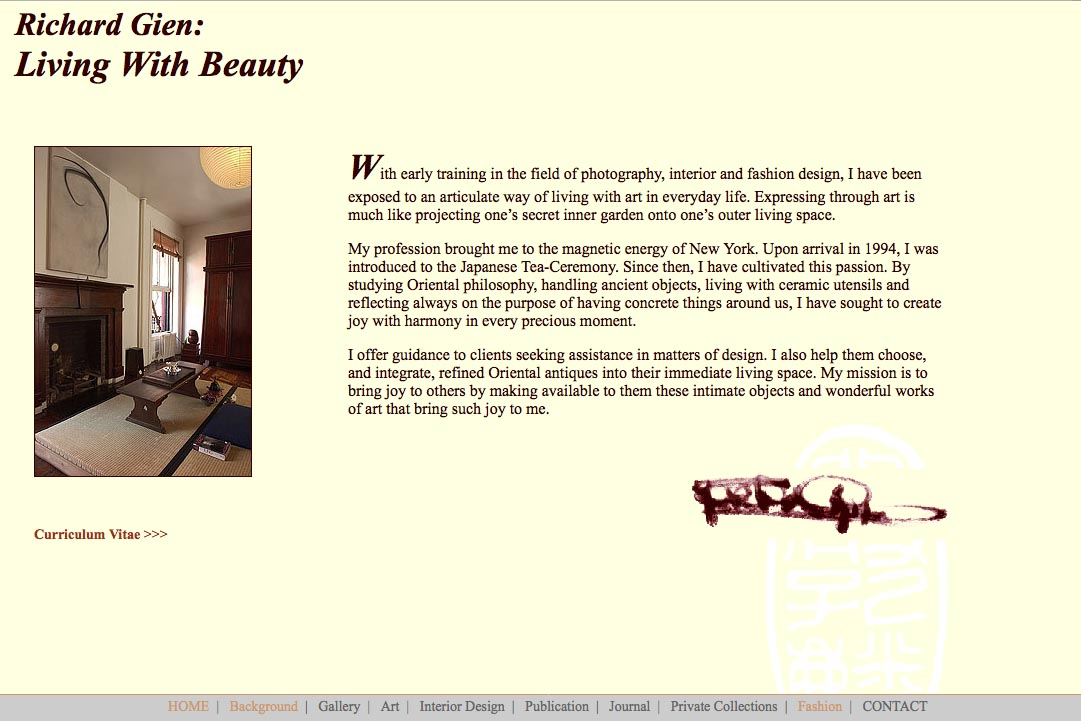 Early web design for a fashion designer: Richard Gien - living with beauty page