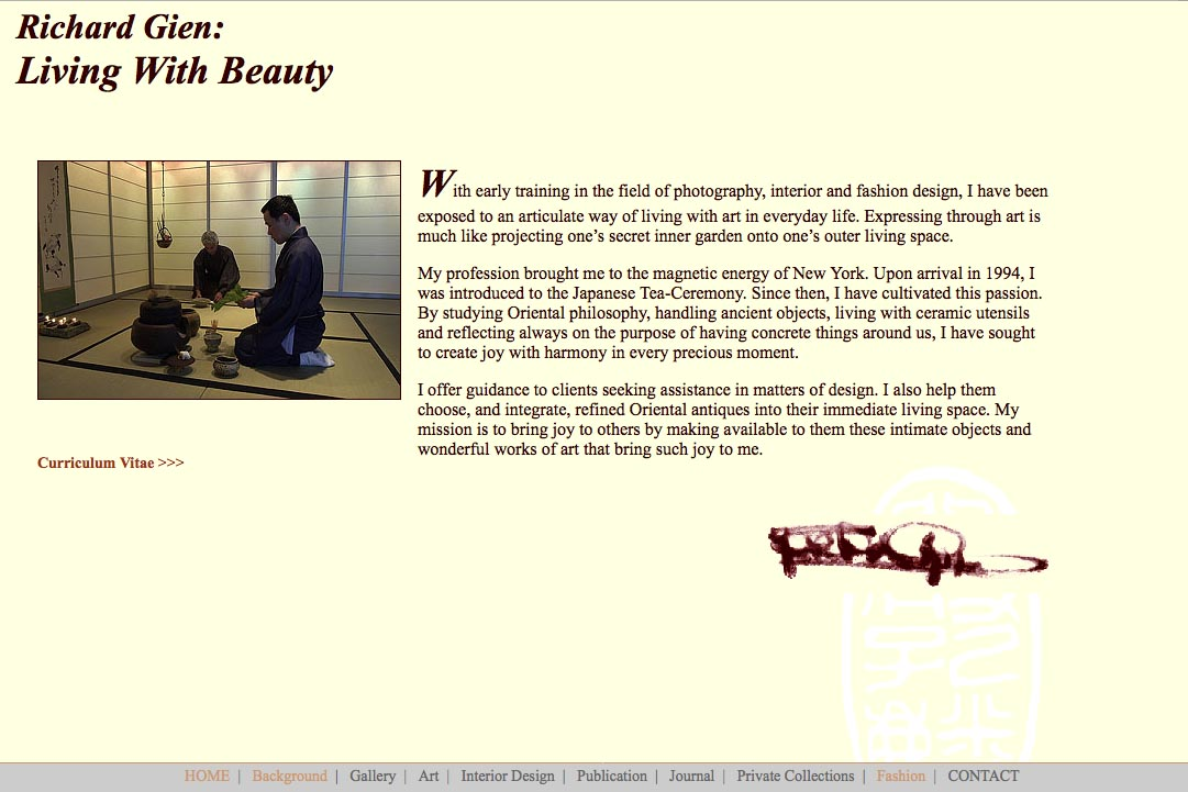 Early web design for a fashion designer: Richard Gien - living with beauty page 2