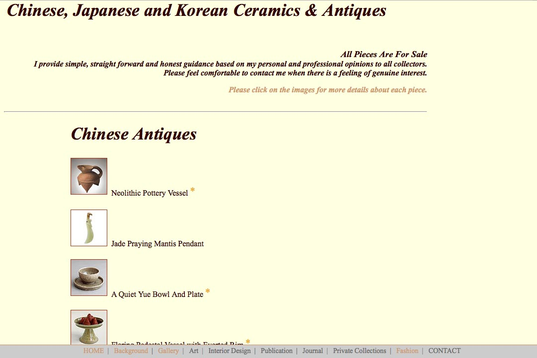 Early web design for a ceramics collector: Richard Gien - ceramics landing page