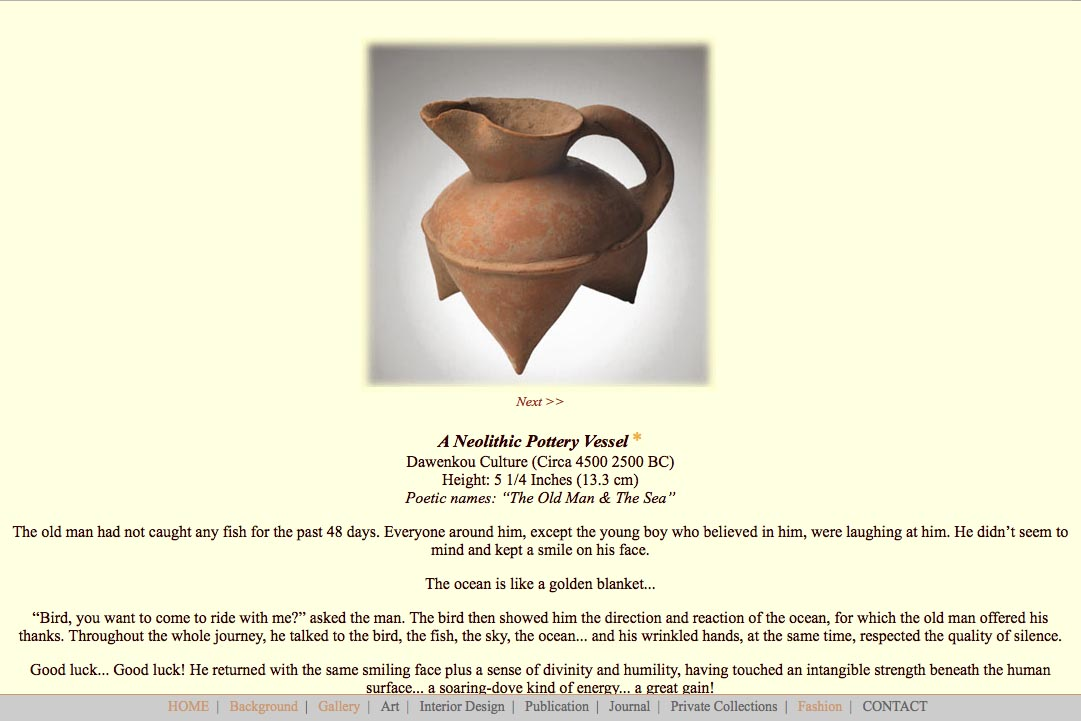 Early web design for a ceramics collector: Richard Gien - ceramics single page