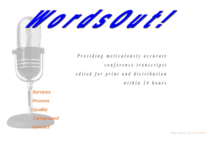 web design for a transcription company - Wordsout!