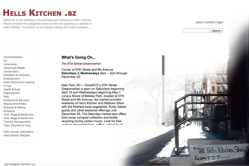 web design for a neighborhood business website for Hells Kitchen in New York - by web designer, Rohesia Hamilton Metcalfe