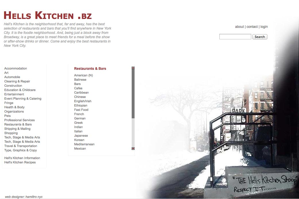 web design for a neighborhood business website - list page