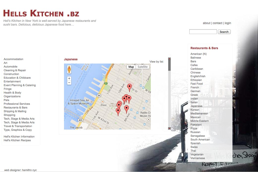 web design for a neighborhood business website - category page showing business locations using Google maps
