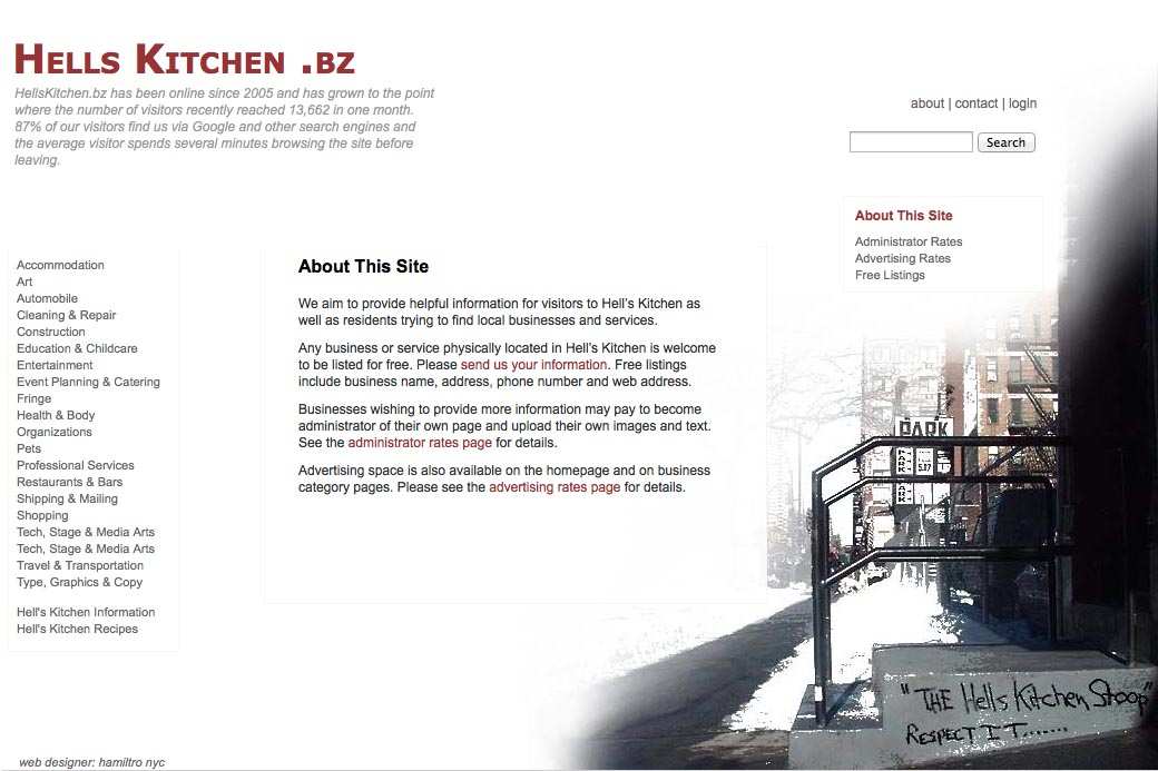 web design for a neighborhood business website - about page