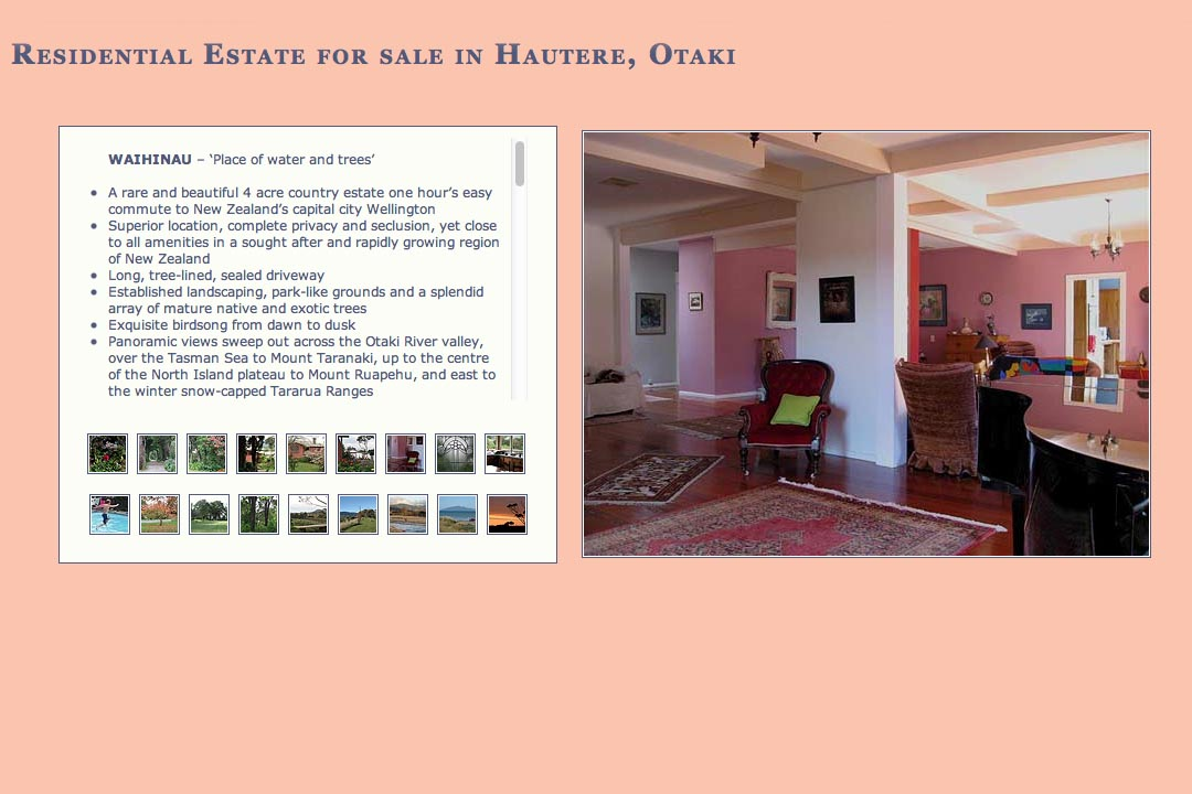 web design for the sale of a property