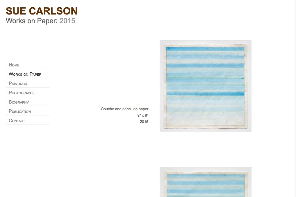 web design for an abstract painter and photographer - Sue Carlson works on paper