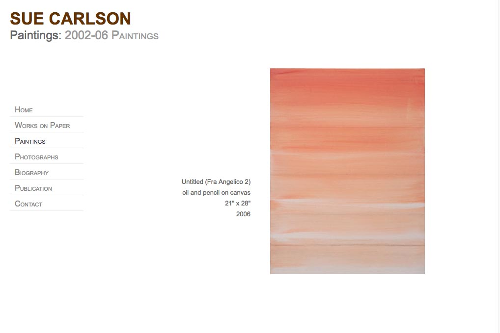 web design for an abstract painter and photographer - Sue Carlson - paintings page