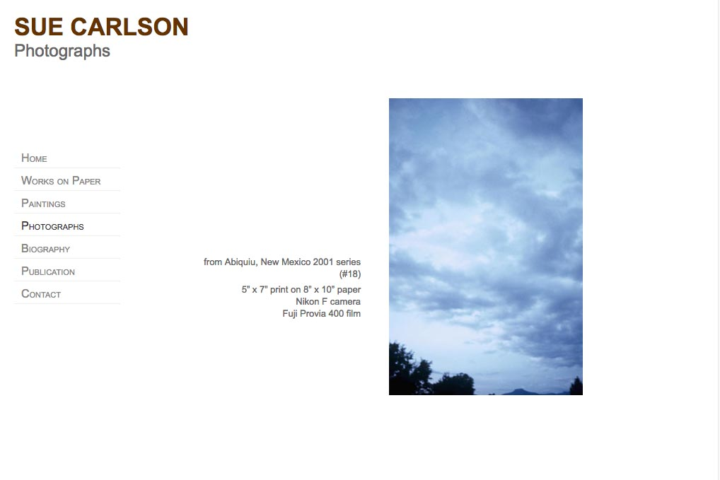 web design for an abstract painter and photographer - Sue Carlson - photographs page