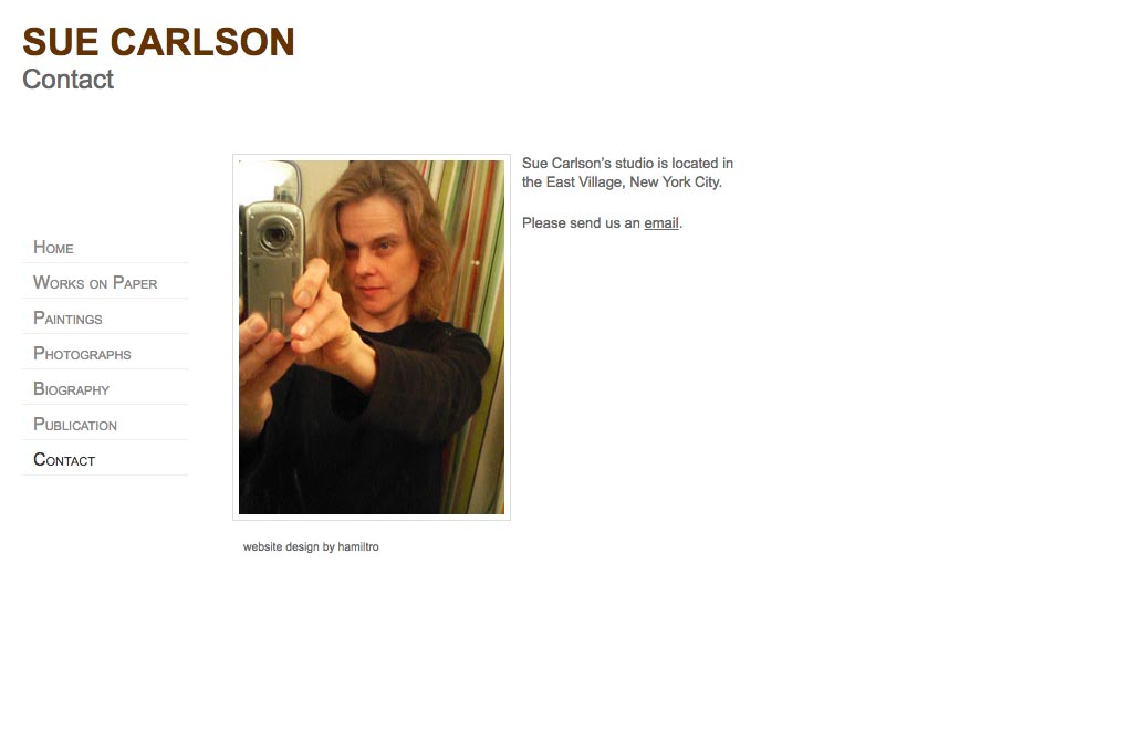 web design for an abstract painter and photographer - Sue Carlson - contact page