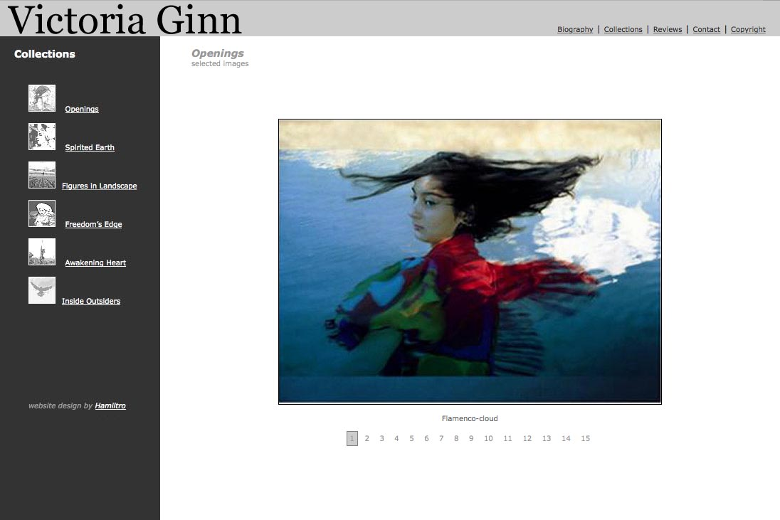 web design for an ethnographic photographer - Victoria Ginn - openings portfolio page
