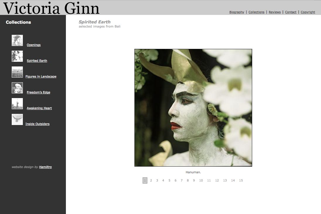 web design for an ethnographic photographer - Victoria Ginn - spirited earth Bali portfolio page