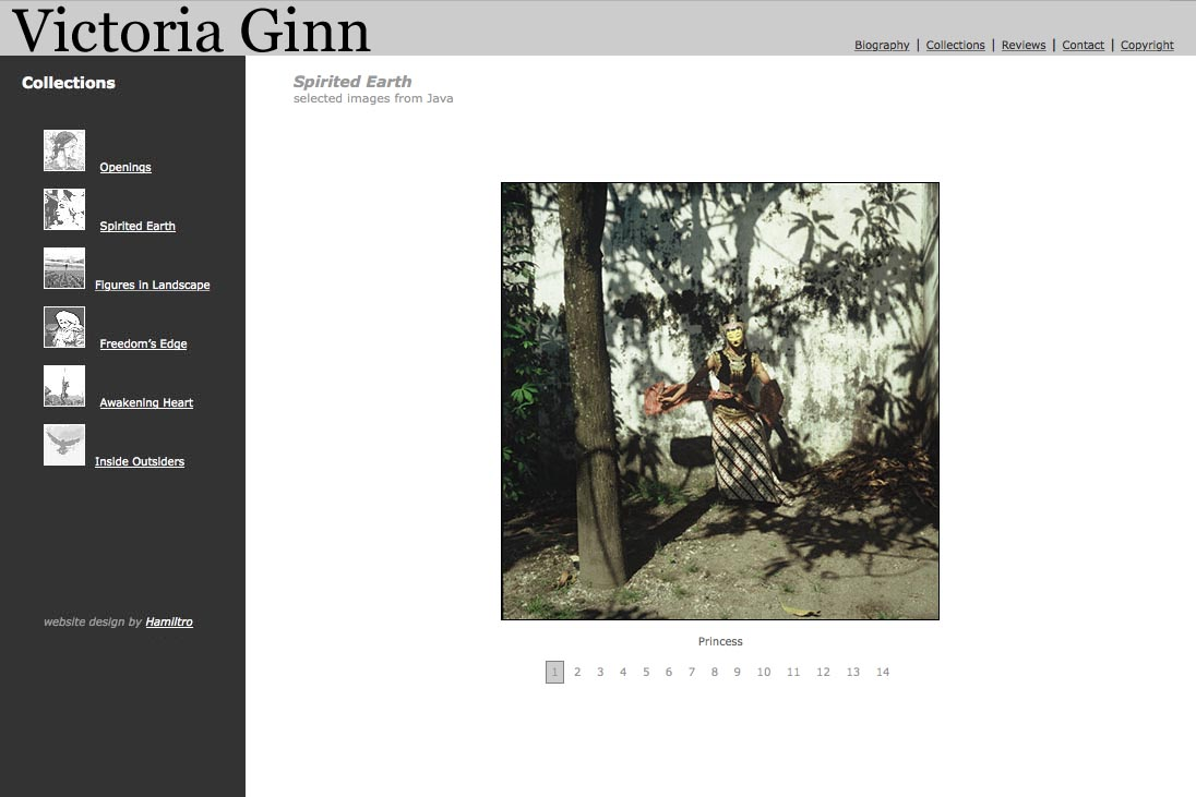web design for an ethnographic photographer - Victoria Ginn - spirited earth Java page