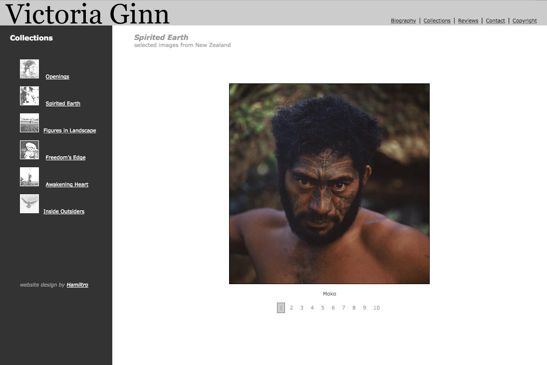 web design for an ethnographic photographer - Victoria Ginn - spirited earth New Zealand page