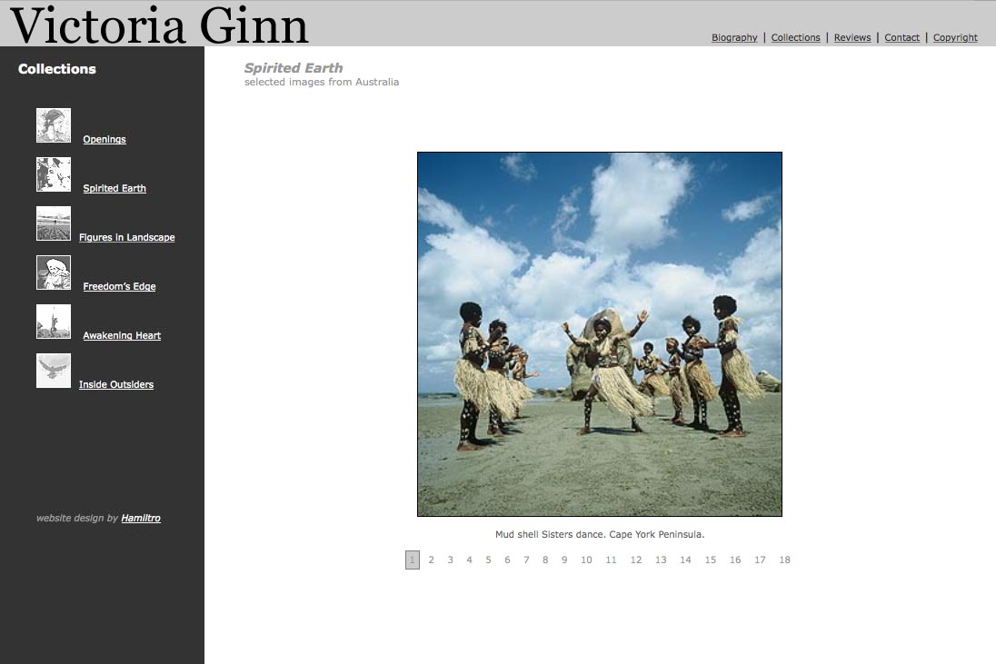 web design for an ethnographic photographer - Victoria Ginn - spirited earth Australia page