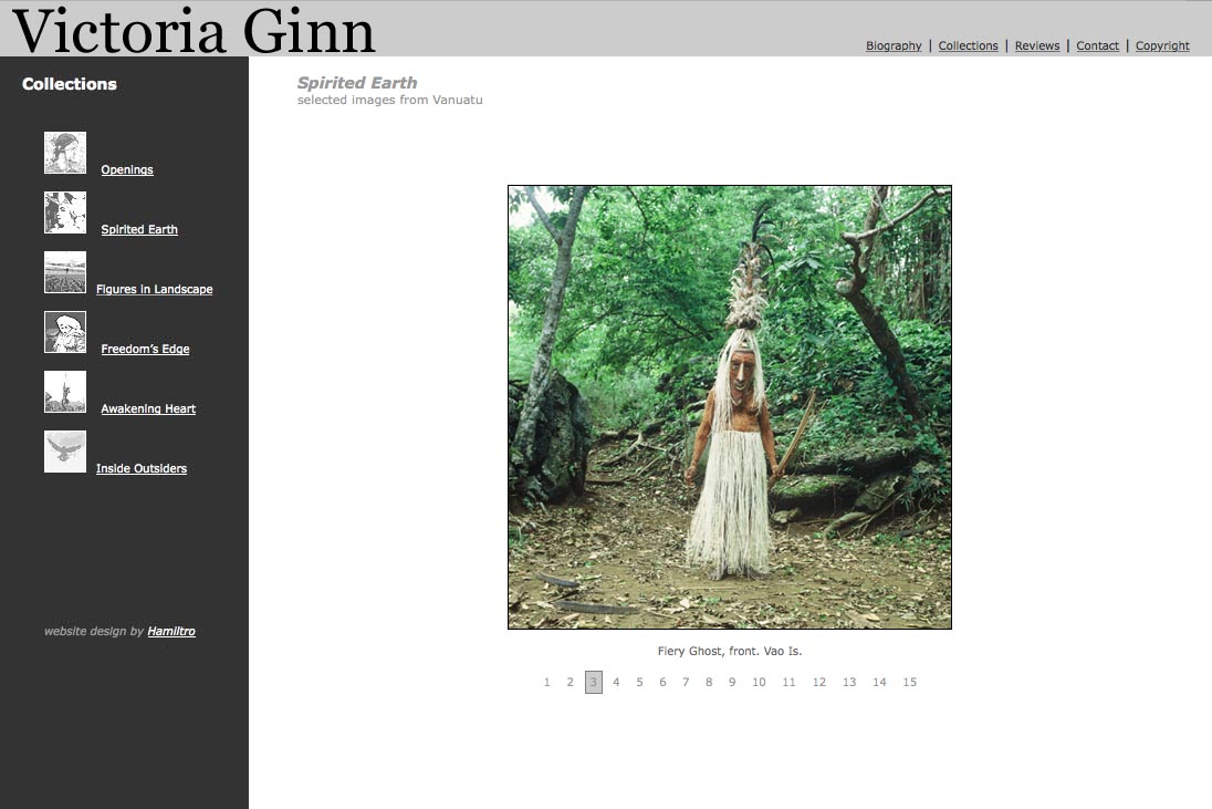 web design for an ethnographic photographer - Victoria Ginn - spirited earth Vanuatu page