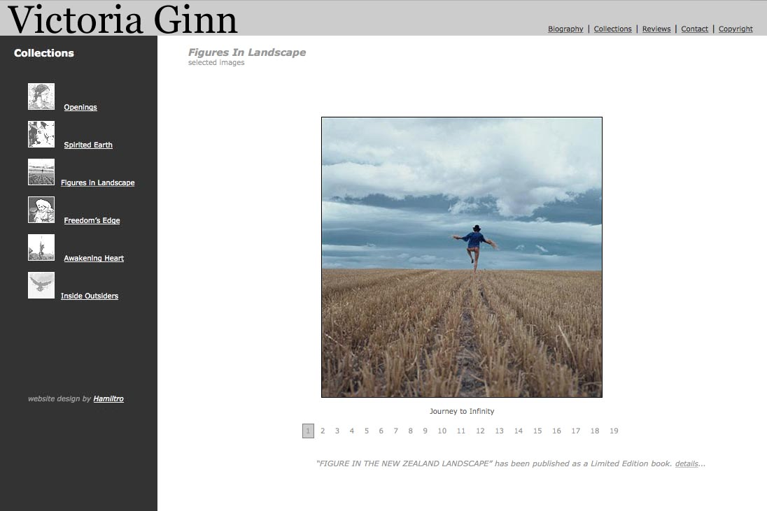 web design for an ethnographic photographer - Victoria Ginn - figures in landscape page