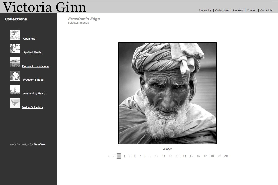 web design for an ethnographic photographer - Victoria Ginn - freedoms edge portfolio page
