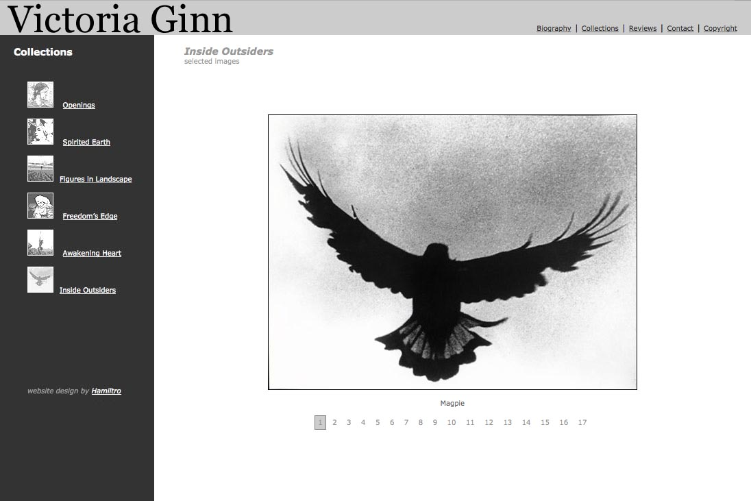 web design for an ethnographic photographer - Victoria Ginn - insiders outsiders portfolio page