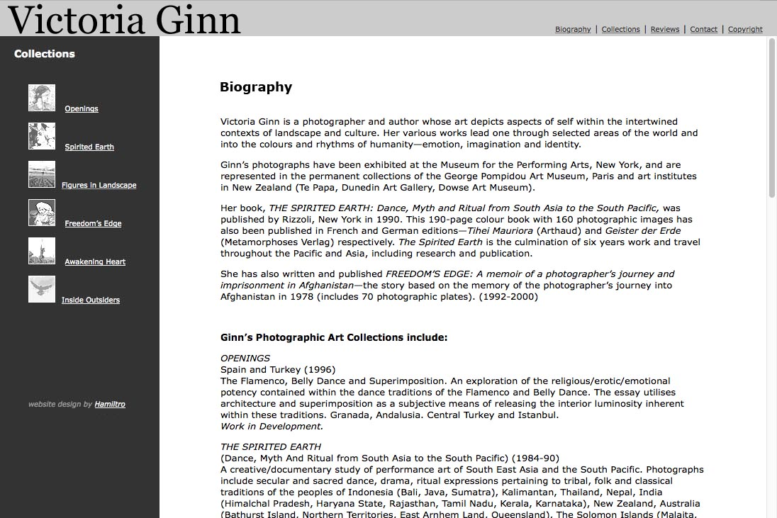 web design for an ethnographic photographer - biography page