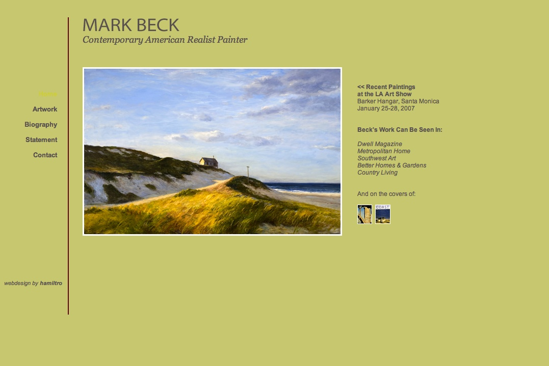 web design for a realist painter - Mark Beck