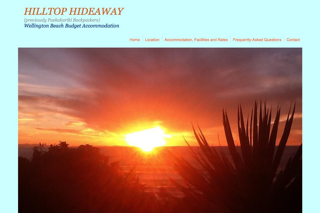 web design for a budget backpacker accommodation lodge - Hilltop Hideaway