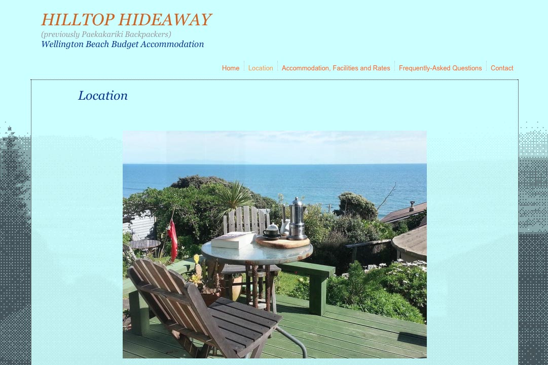 web design for a budget backpacker accommodation lodge - location page