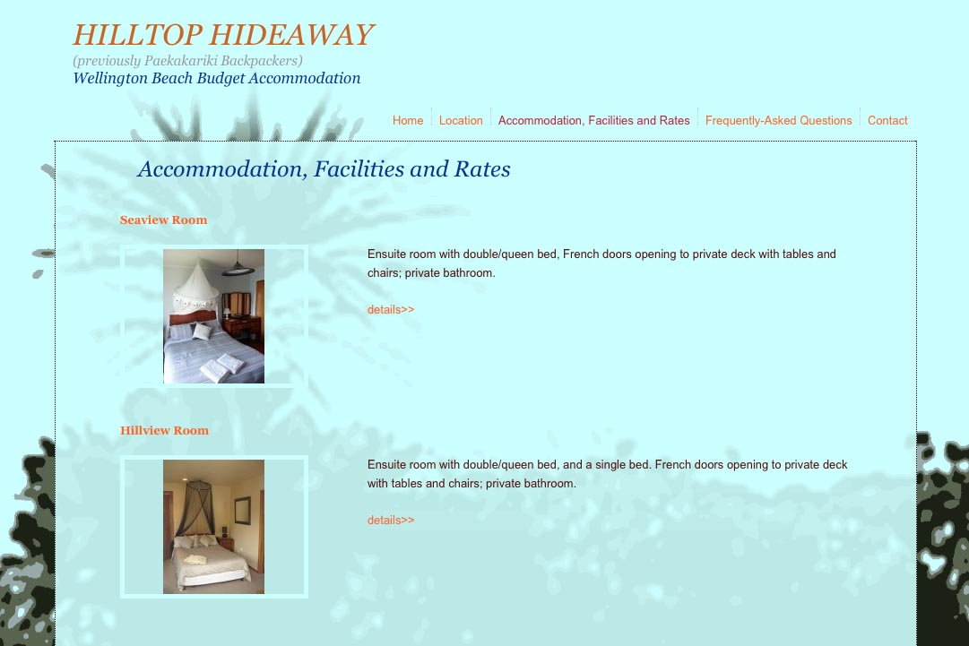 web design for a budget backpacker accommodation lodge - accommodation page