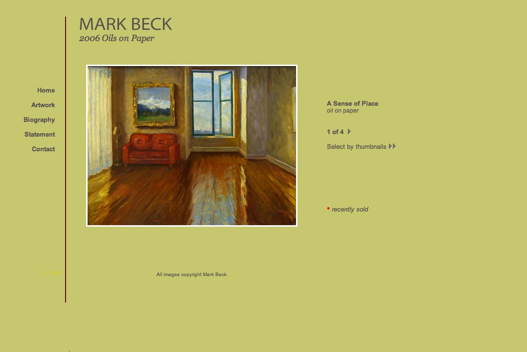 web design for a realist painter - single artwork page