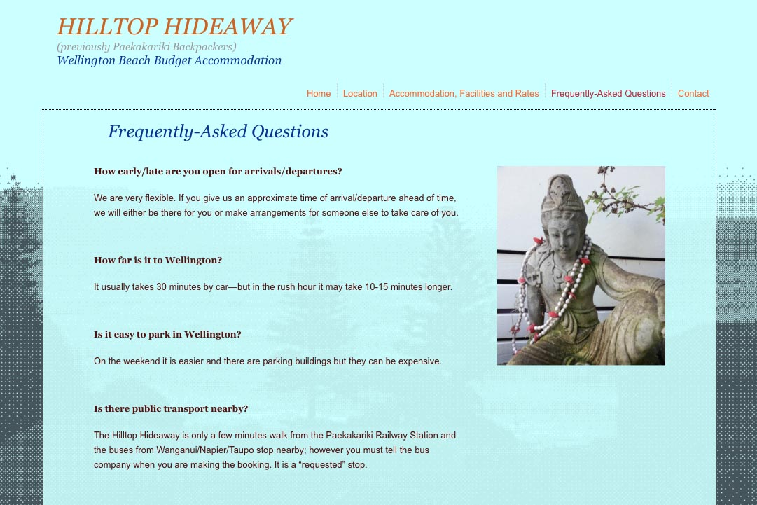 web design for a budget backpacker accommodation lodge - faq page