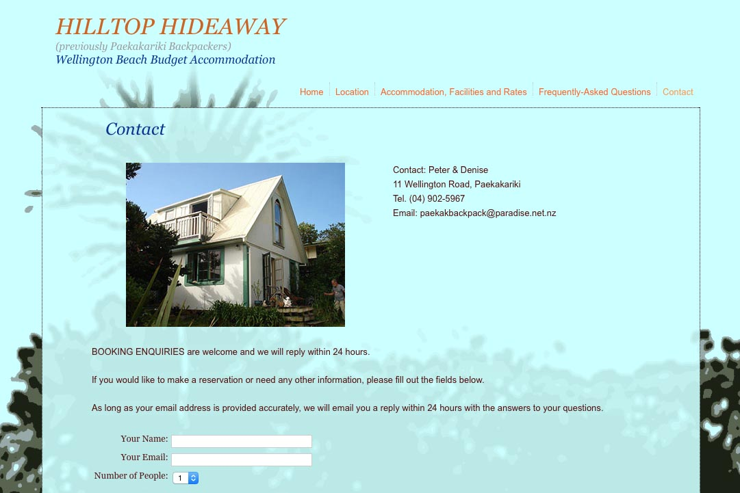 web design for a budget backpacker accommodation lodge - contact page