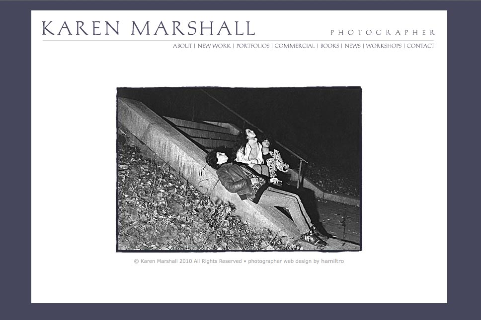 early web design for a social documentary photographer - Karen Marshall