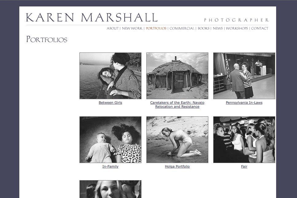 early web design for a social documentary photographer - gallery landing page