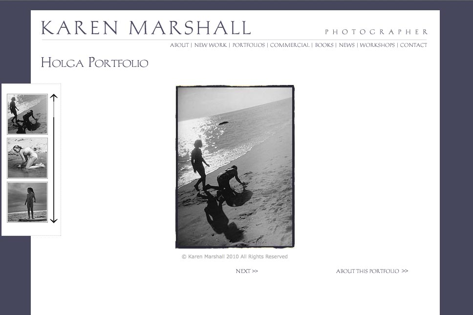early web design for a social documentary photographer - Karen Marshall - gallery single page