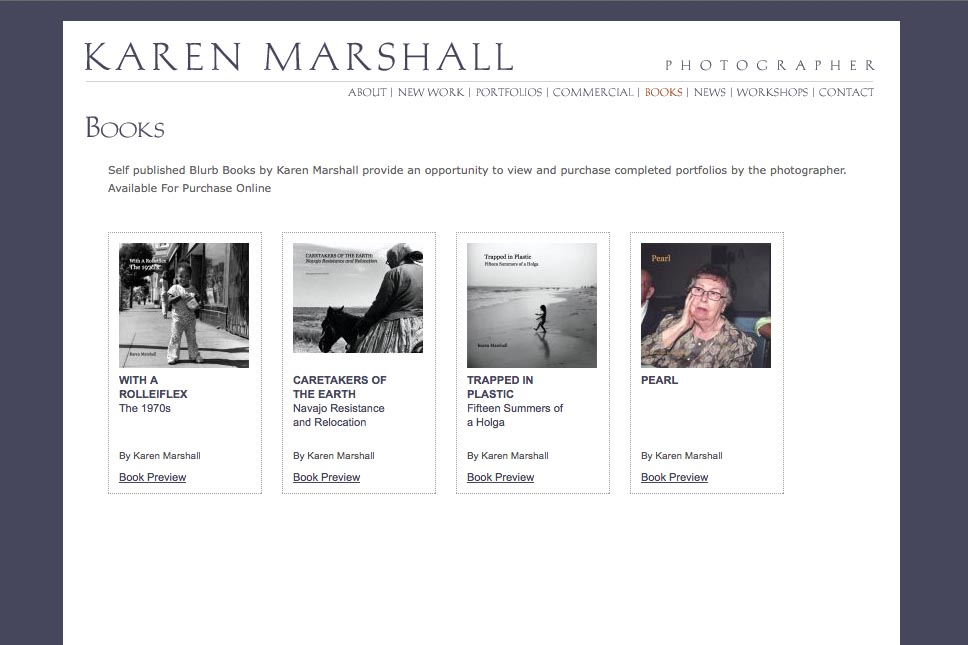 early web design for a social documentary photographer - Karen Marshall - books page