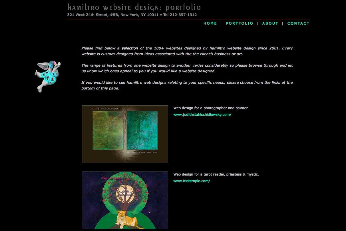early web design for a web design company - portfolio index page