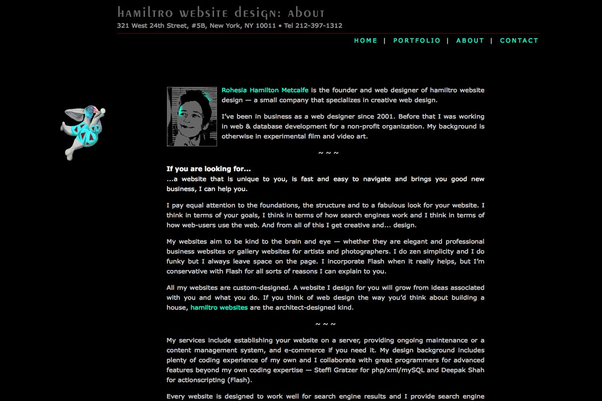 early web design for a web design company - about page